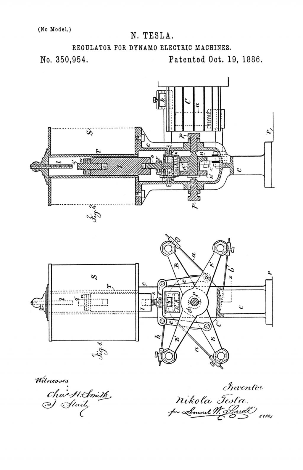 Nikola Tesla U.S. Patent 350,954 - Regulator for Dynamo-Electric Machines - Image 1