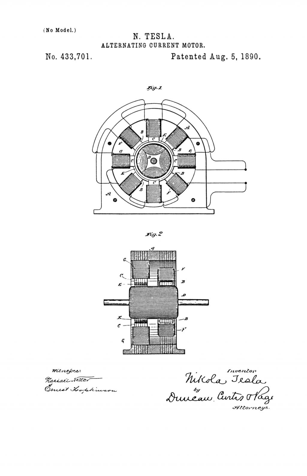 Nikola Tesla U.S. Patent 433,701 - Alternating-Current Motor - Image 1
