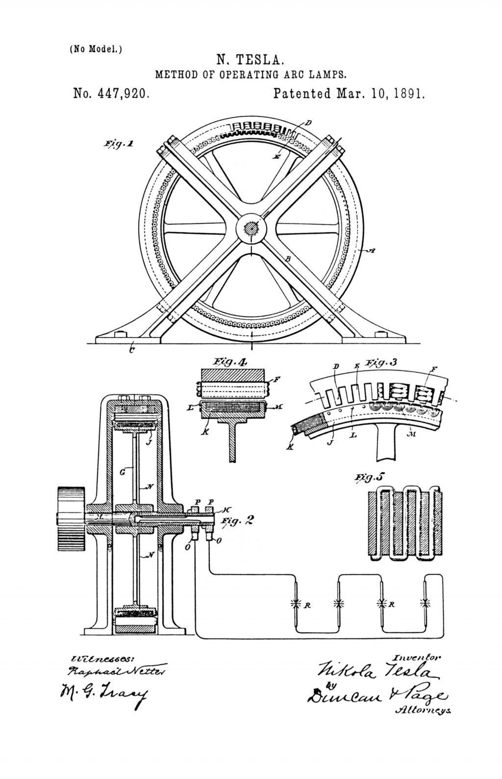 Nikola Tesla U.S. Patent 447,920 - Method of Operating Arc-Lamps - Image 1