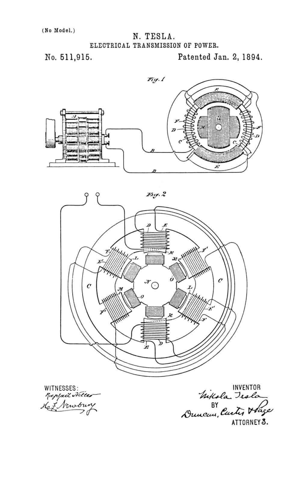 Nikola Tesla U.S. Patent 511,915 - Electrical Transmission of Power - Image 1