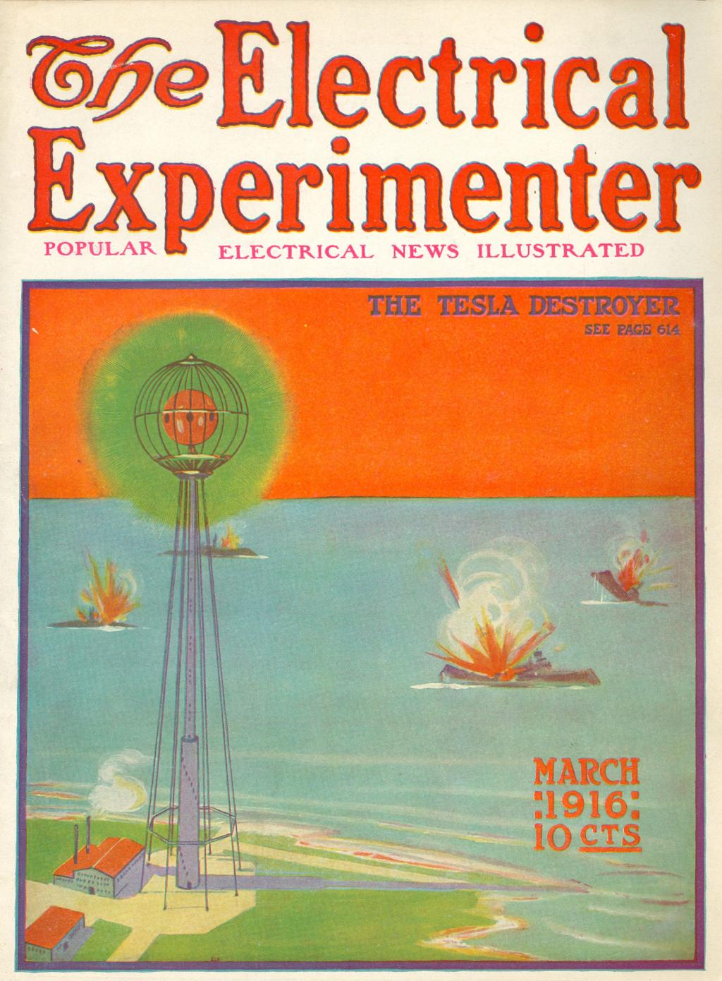 Cover of Electrical Experimenter March 1916 depicting The Tesla Destroyer