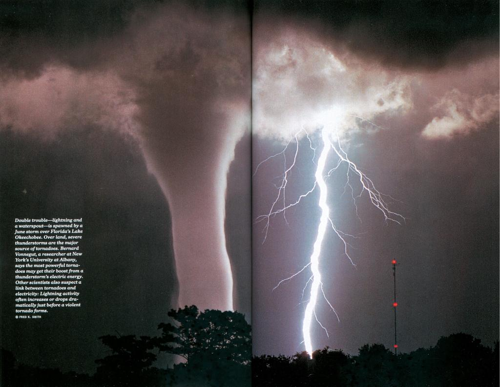 Two of nature's most menacing forces, a tornado and lightning