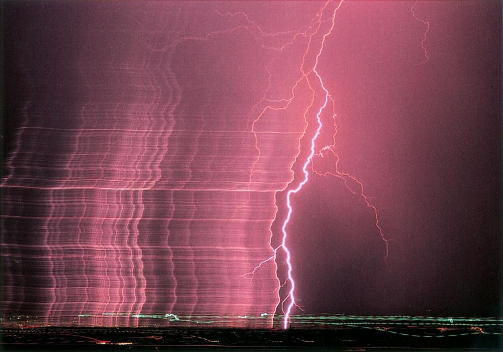 Time-lapse photo of brilliant lightning discharge