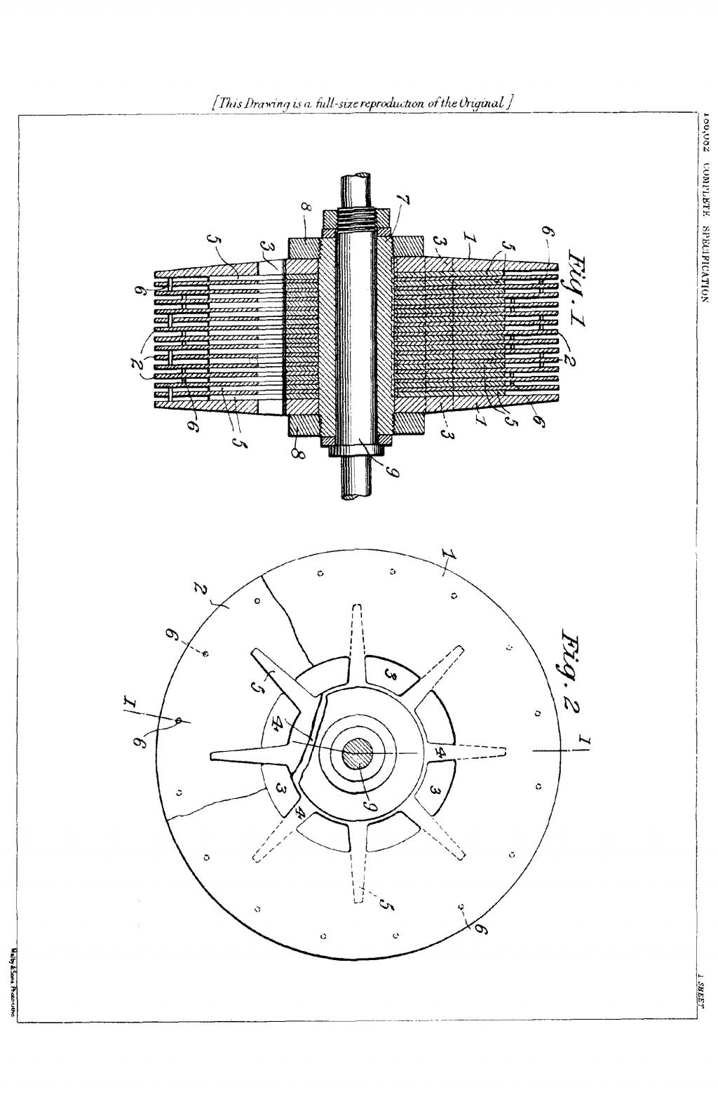 Nikola Tesla British Patent 186,082 - Improvements in the Construction of Steam and Gas Turbines - Image 1