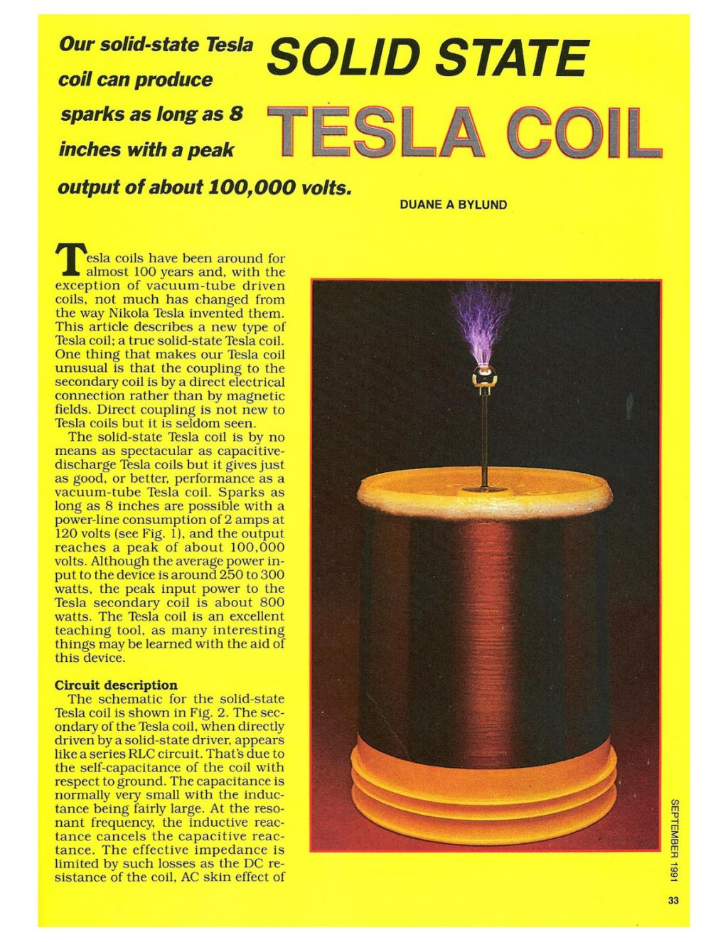 Preview of Solid State Tesla Coil plan