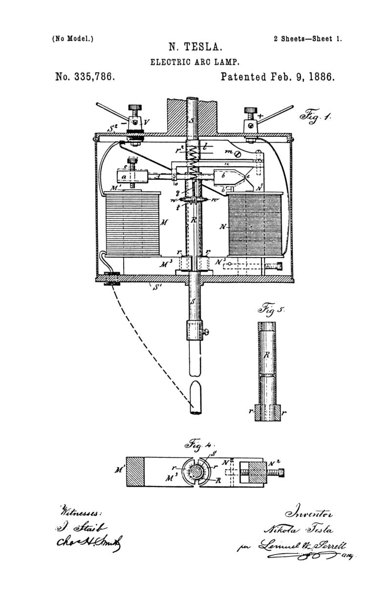 Nikola Tesla U.S. Patent 335,786 - Electric-Arc Lamp - Image 1