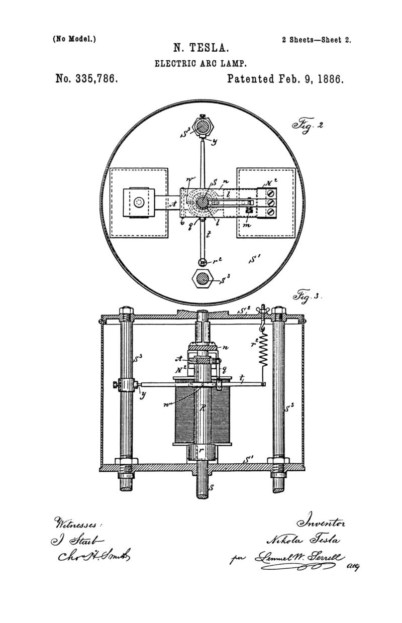 Nikola Tesla U.S. Patent 335,786 - Electric-Arc Lamp - Image 2