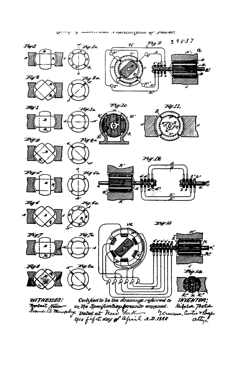 Nikola Tesla Canadian Patent 29537 - System of Electrical Transmission of Power - Image 1
