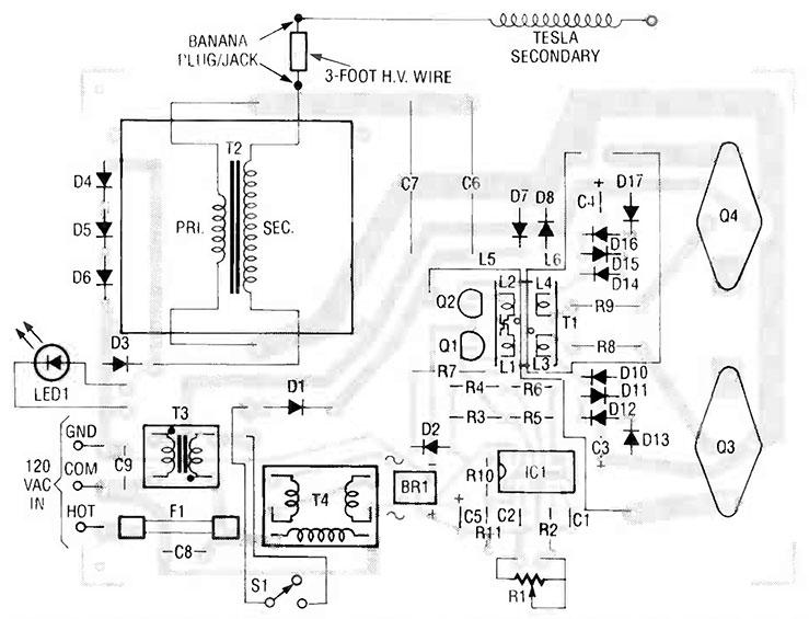 Solid state Tesla coil schematic and PCB board layout diagram.