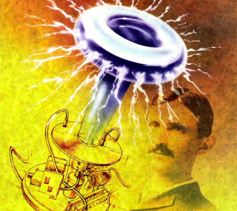 Solid-state Tesla coil illustration with Nikola Tesla.