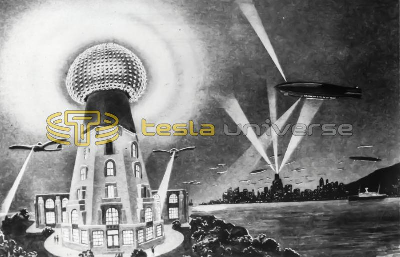 An artist's depiction of Tesla's tower in full operation