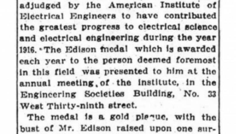 Preview of Edison Medal Goes to Nikola Tesla article