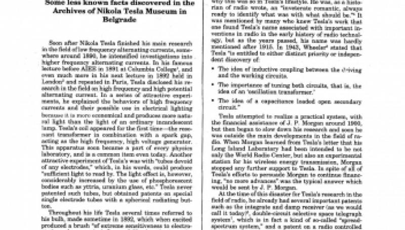 Preview of Nikola Tesla Contributions to the Development of Radio article
