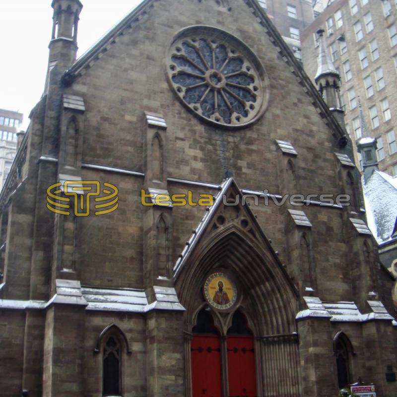 The St. Sava Cathedral in New York City, home to a Tesla bust