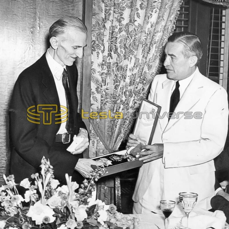 Nikola Tesla being presented with the Order of the White Lion