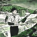 Drawing of Nikola Tesla digging ditches after leaving the employ of Edison