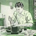Drawing of Nikola Tesla working on a prototype of his AC induction motor